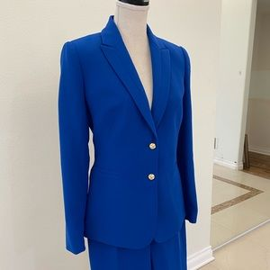 Dodger blue  Tahari suit  with gold buttons